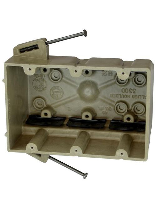 Allied Moulded Products 3300-NK 3 x 5-11/16 x 3-3/4 Inch 46 In 3-Gang Fiberglass Angled Mid-Nail Switch/Receptacle Outlet Box