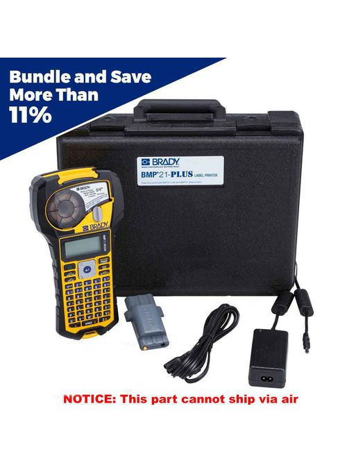 Brady BMP21-PLUS-KIT1 3/4 Inch Single Color Portable Label Printer Case Battery and AC Charger Kit