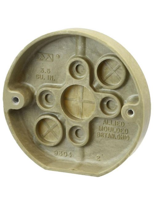 Allied Moulded Products 9304 5/8 x 3-3/8 Inch 3.5 In Fiberglass Round Fixture Outlet Box