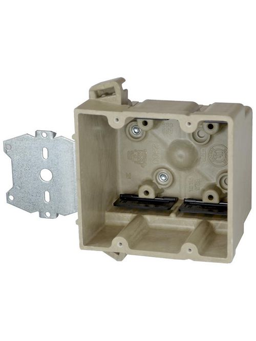 Allied Moulded Products 2300-Z2 3 x 4 x 3-3/4 Inch 32.5 In 2-Gang Fiberglass 1/4 Inch Offset Switch/Receptacle Outlet Box