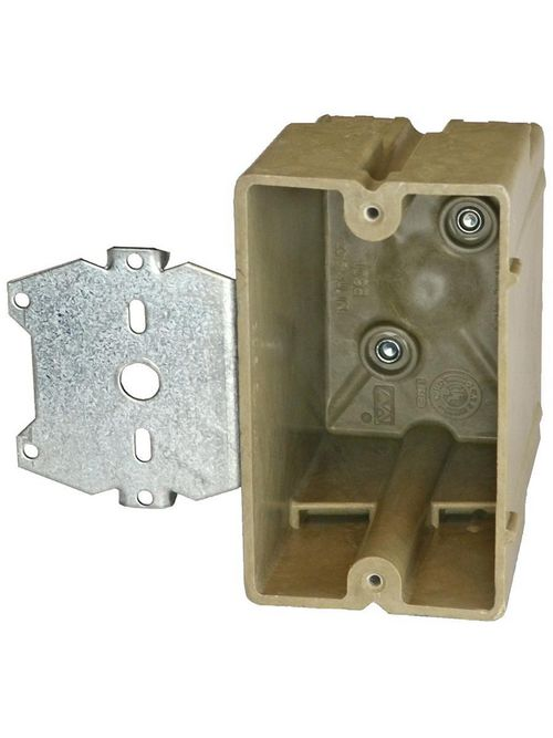 Allied Moulded Products 1098-Z2 3-1/4 x 2-1/4 x 3-3/4 Inch 20.5 In 1-Gang Fiberglass Switch/Receptacle Outlet Box