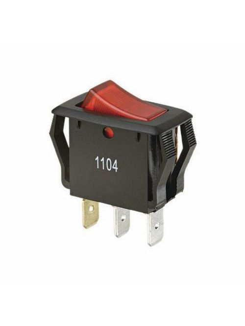 Ideal 774039 1/3 or 1/2 Hp 10/16 Amp 125/250 VAC SPST On-Off Spade Terminal Red Rocker Switch