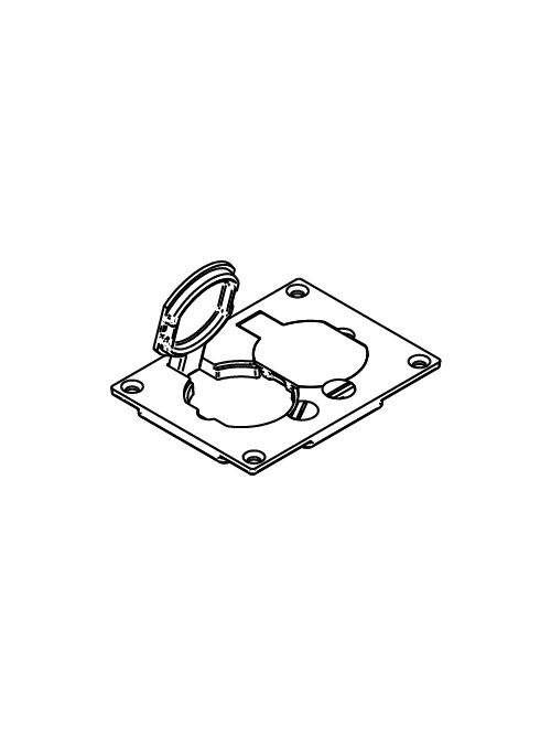 "Wiremold 828PR-BLK 3-3/16 x 4-1/8"" Black Polycarbonate Floor Box Duplex Cover Plate"