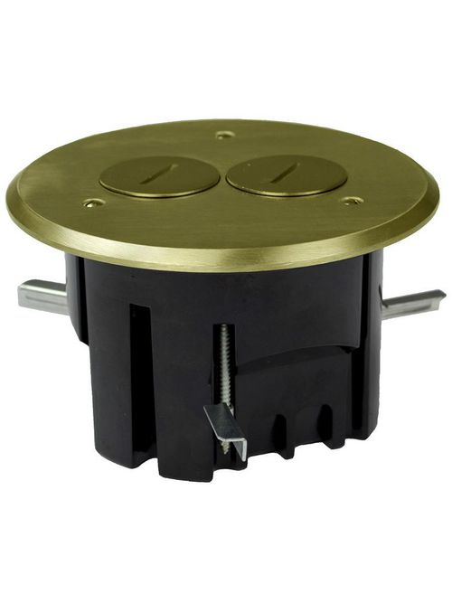 Allied Moulded Products FB-3 Thermoplastic Floor Box 25 In Round Brass Cover Duplex Device