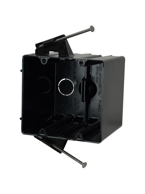 Allied Moulded Products P-442QT 3-9/16 x 4 x 3-3/4 Inch 43.5 In 2-Gang Polycarbonate Angled Nail Switch/Receptacle Outlet Box