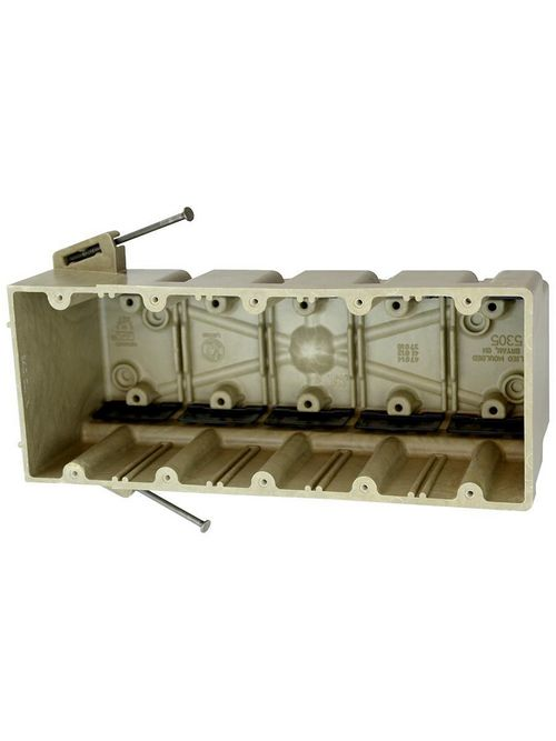 Allied Moulded Products 5305-NK 3-9/16 x 9-1/4 x 3-3/4 Inch 94 In 5-Gang Angled Mid-Nail Switch/Receptacle Outlet Box