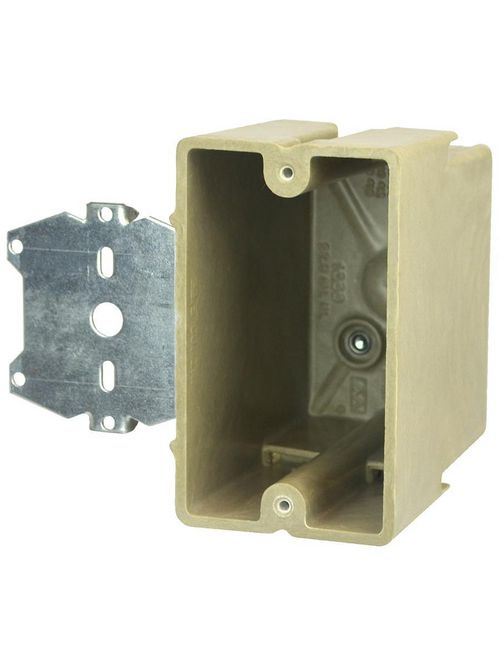 Allied Moulded Products 1099-Z4 3-9/16 x 2-1/4 x 3-3/4 Inch 22.5 In 1-Gang Fiberglass Offset Switch/Receptacle Outlet Box