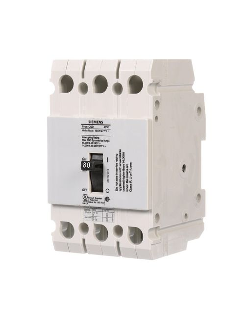 Siemens Industry CQD380 480/277 Volt 80 Amp 14 kaic 3-Pole Type CQD Circuit Breaker with DIN Rail