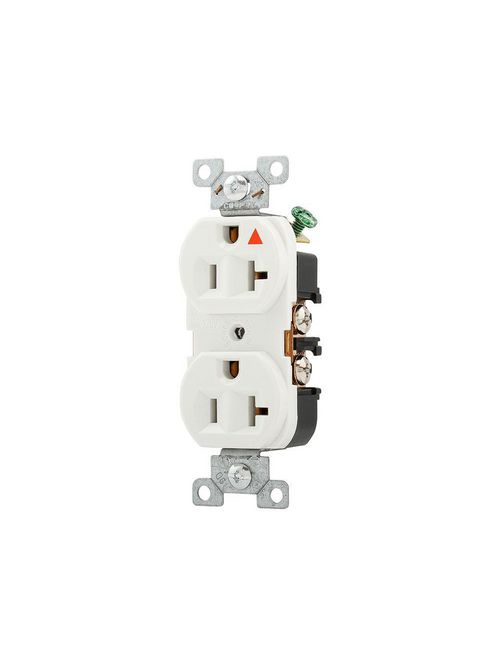Eaton Wiring Devices IG5362W 20 Amp 125 VAC 2-Pole 3-Wire NEMA 5-20R White Isolated Ground Straight Blade Duplex Receptacle