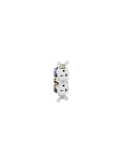 Leviton 5822-W 20 Amp 250 Volt NEMA 6-20R 2-Pole 3 Wire Narrow Body Straight Blade Commercial Grade White Duplex Receptacle