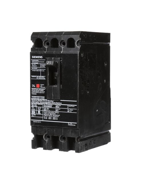 Siemens Industry HED43B025 25 Amp 42 kA 480 Volt 3-Pole Type HED4 Molded Case Circuit Breaker with Load Lug