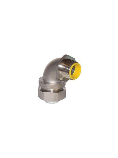 Crouse-Hinds Series LTB7590SS 3/4 Inch 304 Stainless Steel Threaded 90 Degrees Liquidtight Conduit Connector