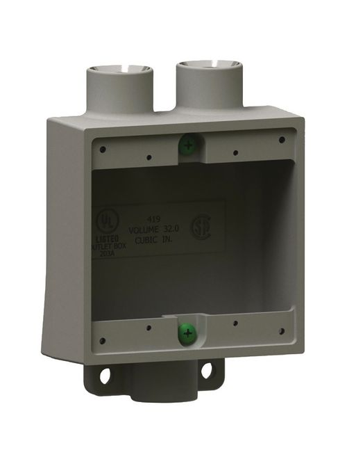 Hubbell Electrical Systems 2FSD-2 3/4 Inch 2-Gang Iron Type 2FSD Shallow Cast Device Box with Mounting Lug