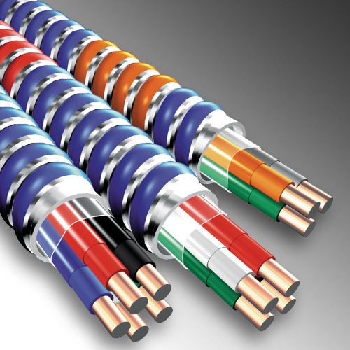 MC Cable 1/0-4 Stranded (Black,White,Red,Blue) w/ 6 Bare Ground, MC Steel Metal Clad Cable
